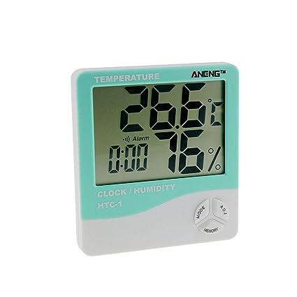 Banbie8409 HTC-1 Temperatura digital Medidor de humedad Reloj despertador Termómetro Higrómetro
