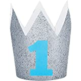Party Central Set of 6 Blue and Gray Glittered Finish Hat Crowns 4''
