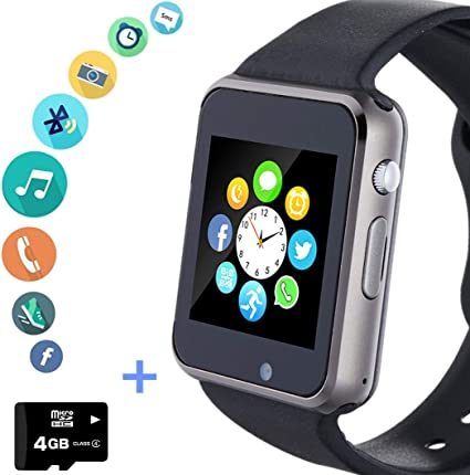 Smart Watch Phone Smartwatch with SD Card Camera Pedometer Text Call Notification SIM Card Slot Music Player Compatible for Android Samsung Huawei LG ...