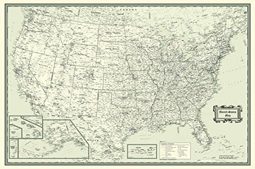 Cool Owl Maps United States Wall Map Beige and Black Design