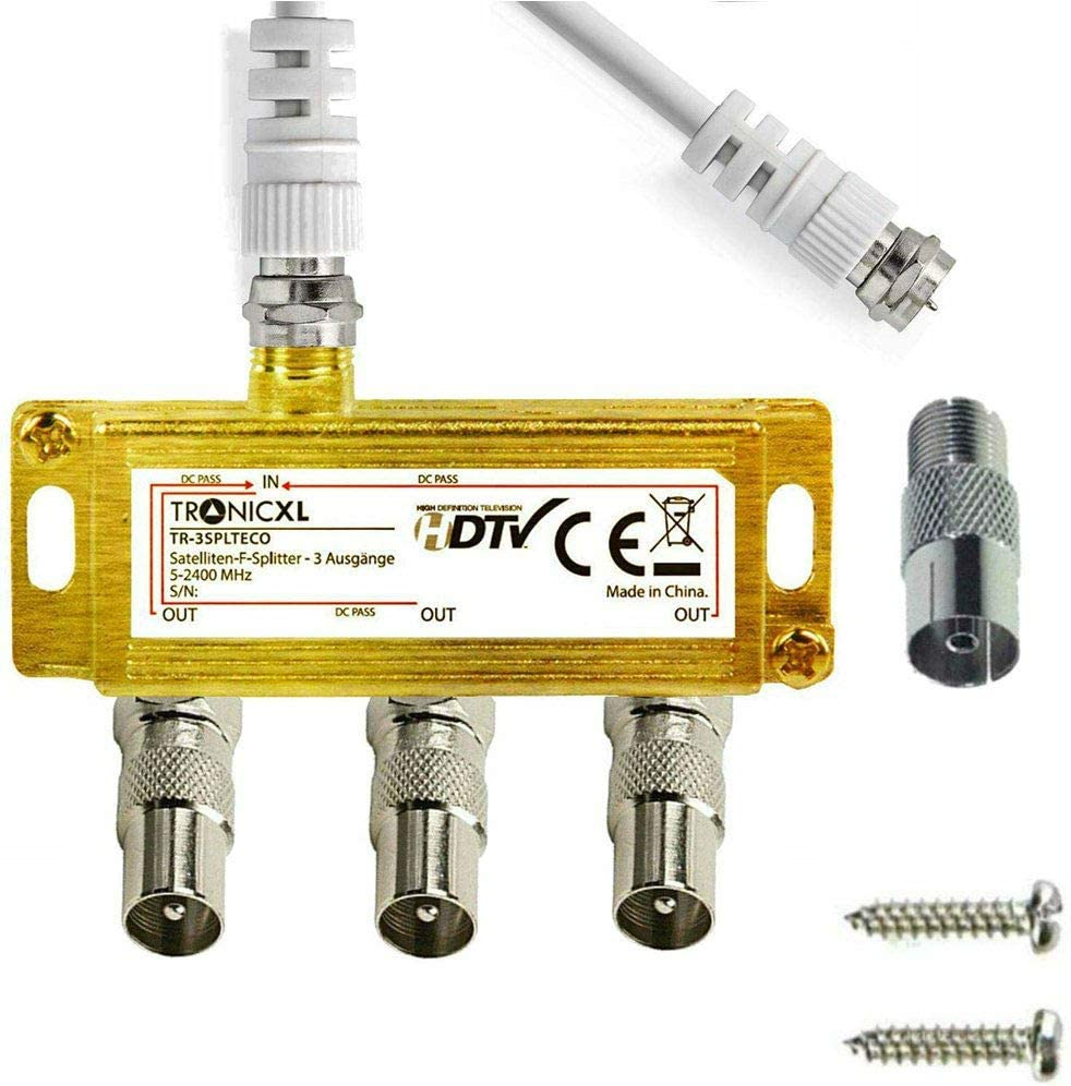 TronicXL Distribuidor de antena de 3 vías, cable adaptador para televisión por cable coaxial por ejemplo compatible con Unitymedia Vodafone Netcom ...