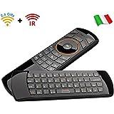 Rii Mini i25 Wireless + IR (layout ITALIANO) - Mini tastiera con Mouse giroscopico e telecomando infrarossi universale per Smart TV, Mini PC, HTPC, Console, Computer