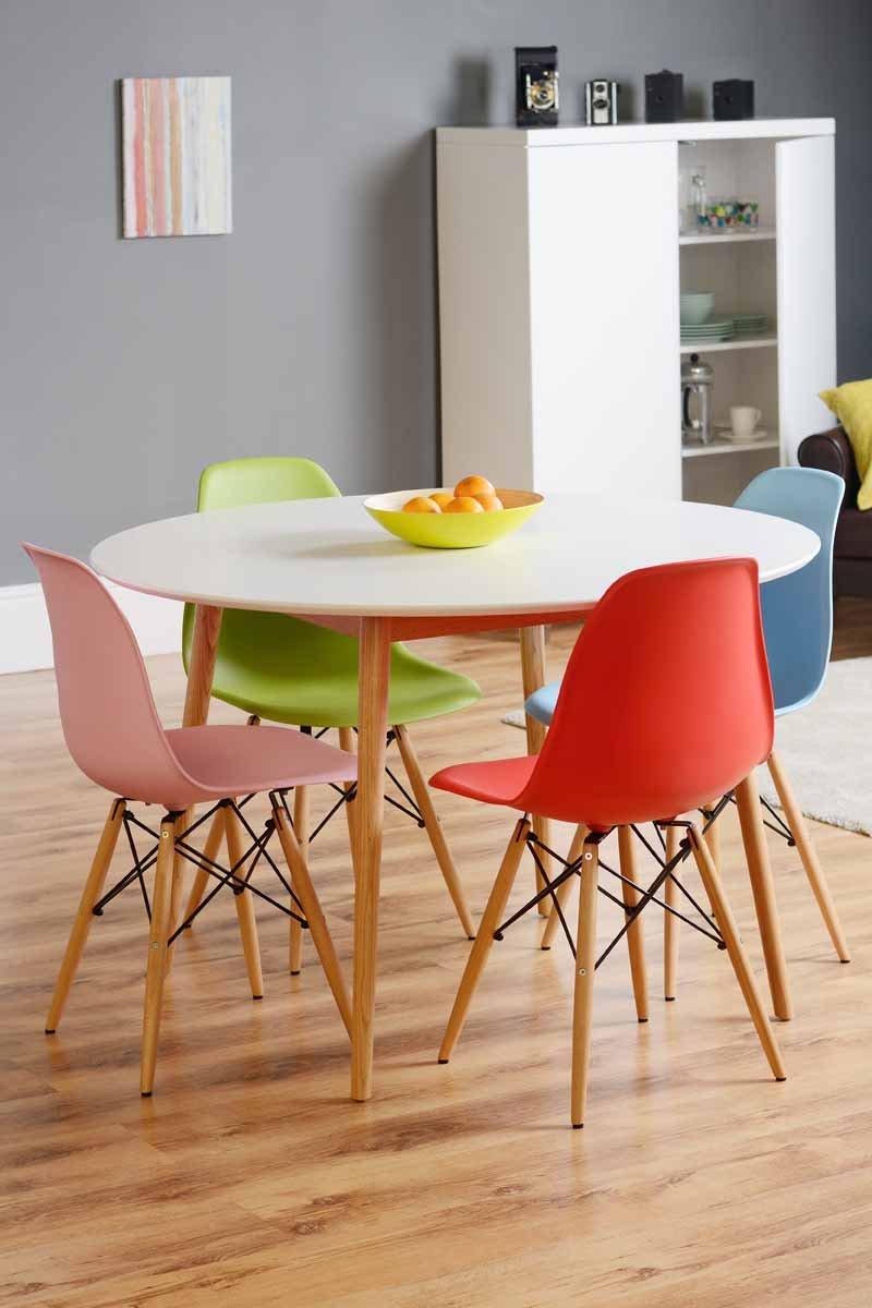 MY Furniture   Dining Table Lacquered White Retro Round  Tretton (Round  White Lacquered): Amazon.co.uk: Kitchen U0026 Home