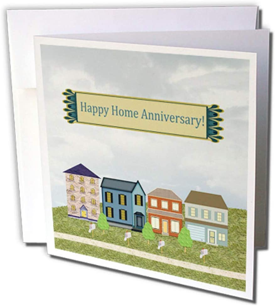 """3dRose Home Anniversary, Realtor to Client, Family, Friends, Homes, Mailboxes - Greeting Cards, 6"""" x 6"""", Set of 12 (gc_240770_2)"""