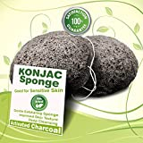 Gaia Konjac Bath Sponge the Gentle Alternative to Baby Washcloths, Completely Free From Harmful Chemicals Found in Other Loofahs, Sponges or Poufs, Activated Charcoal Black, 2 Pack