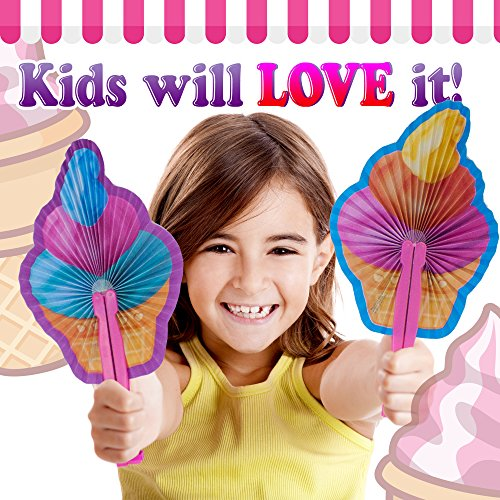 by M /& M Products Online Perfect for Swimming Pool Beach Kids Party Supplies: 24 Folding Fruit Fans for Kids or Birthdays Party Decor /& Favors Variety of Colors and Designs