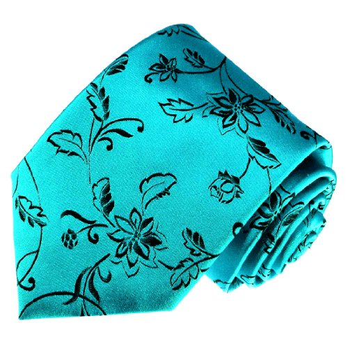 LORENZO CANA - Hochwertige Marken Krawatte aus 100% Seide - Tuerkis Gruen Schwarz Floral Ranken - 84162