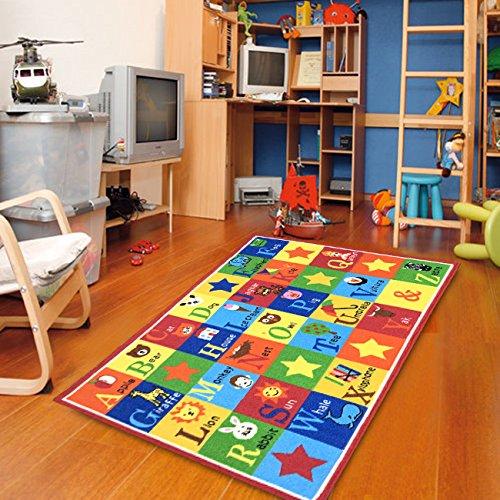 Furnish my Place Kids Rug ABC Animals 3' X 5' Children Area Rug anti skid actual size 3'3'' x 5'