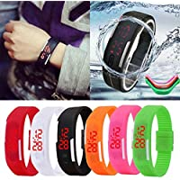 Bulges Fashion LED Electronic Sport Watch Silicone Digital Sport Bracelet Wristwatch (White)