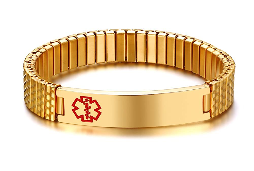 Free Engraving- Men's Stylish Gold Plated Stainless Steel Stretch Medical Alert ID Bracelets for Men Boy Mealguet MG--BR--263G--18