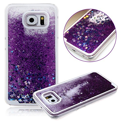 Galaxy S6 Case, Liujie Cute Funny Glitter Quicksand Dynamic Transparent 3D Flowing Star Hard PC Protection Phone Case for Samsung Galaxy S6 (purple)