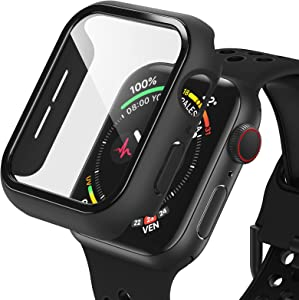Dafill for Apple Watch Case 38mm Series 3/2/1 with Tempered Glass Screen Protector, Hard PC All Around Protective Cover Lightweight Ultra-Thin Bumper Compatible for iWatch 38mm - Black