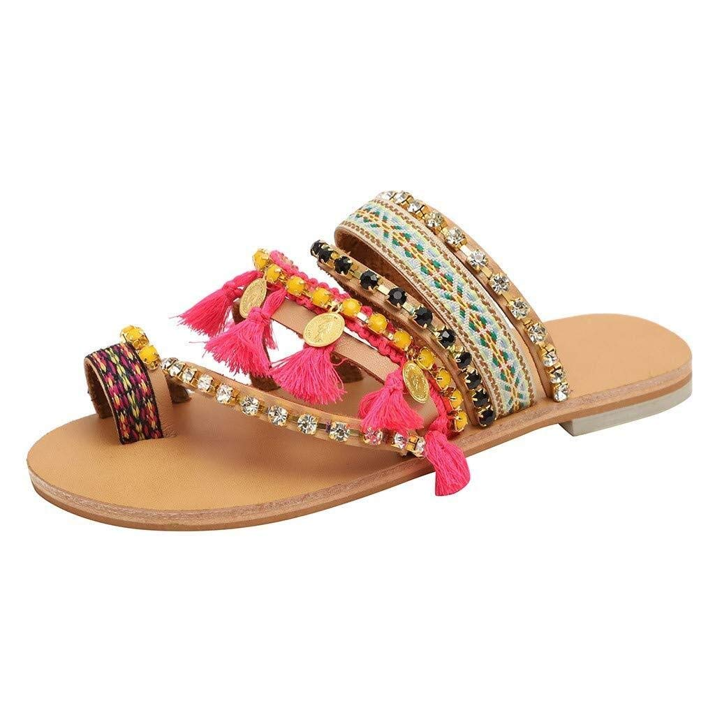 Hermia Women's Fashion Casual Summer Sandals Flip Flops Bohemia Flat Shoes Braided Clip Toe Beach Slippers (Color : Pink, Size : 6.5 M US) by Hermia