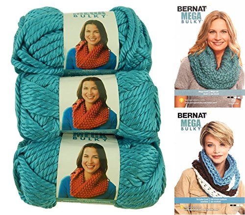 Bernat Mega Bulky Yarn 7.0 Ounce, 3 Pack Bundle, Jumbo #7 Acrylic (Teal) (Bernat Crochet Patterns)