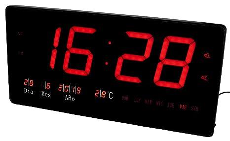 JeVx Reloj Digital Grande de Pared CON NUMEROS GRANDES y ALARMA Led en Color Rojo Calendario Term