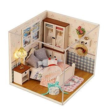 Miniature Super Mini Size Doll House Model Building Kits Toys DIY Dollhouse