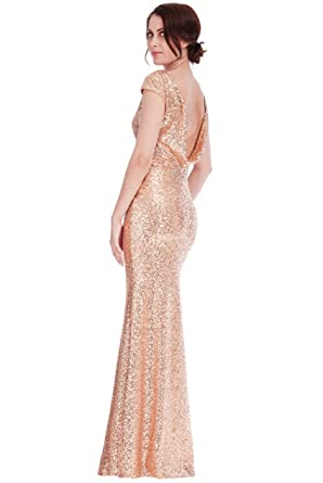 Goddiva Champagne Sequin Open Back Long Maxi Bridesmaid Prom Wedding Party Dress (8)