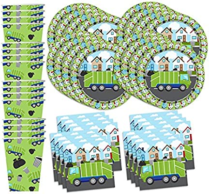 Amazon garbage trash truck party supplies set plates napkins garbage trash truck party supplies set plates napkins cups tableware kit for 16 filmwisefo