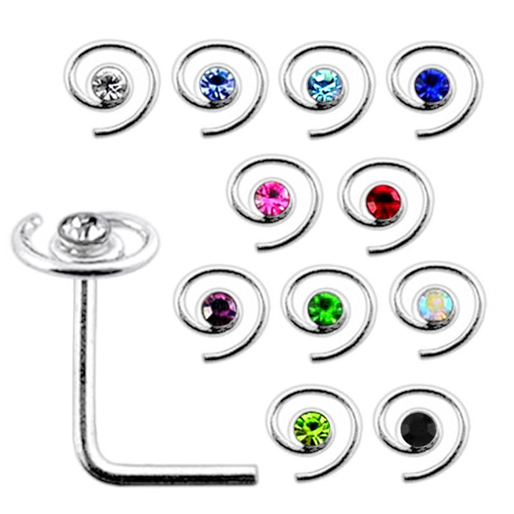 20 Pieces Box Set of Jeweled Spiral Top Sterling Silver L Bend Nose Stud Jewelry