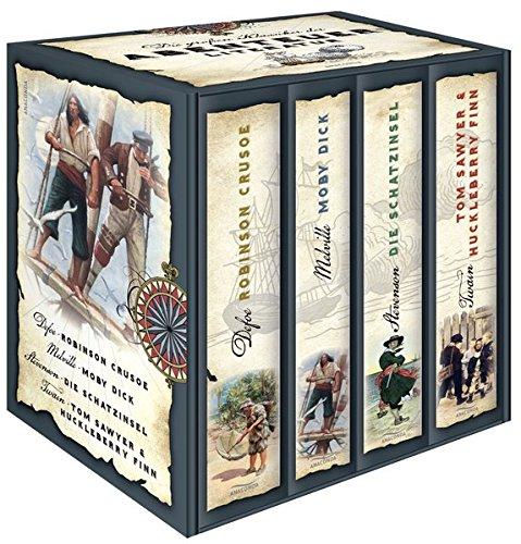 Price comparison product image Die groÃen Klassiker der Abenteuerliteratur (im Schuber) - Robinson Crusoe - Moby Dick - Die Schatzinsel - Tom Sawyer & Huckleberry Finn