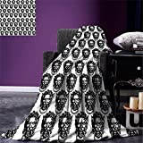 smallbeefly Black and White Digital Printing Blanket Monochrome Medieval Knocker Old Antique Figure Head Cartouche Gothic Theme Summer Quilt Comforter Black White