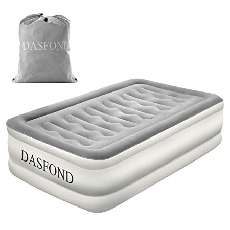 DASFOND Best Inflatable Air Mattress, Raised Blow up Airbed with Built-in Electric Pump and Storage Bag, Easy Setup, Height 18 , Twin Size