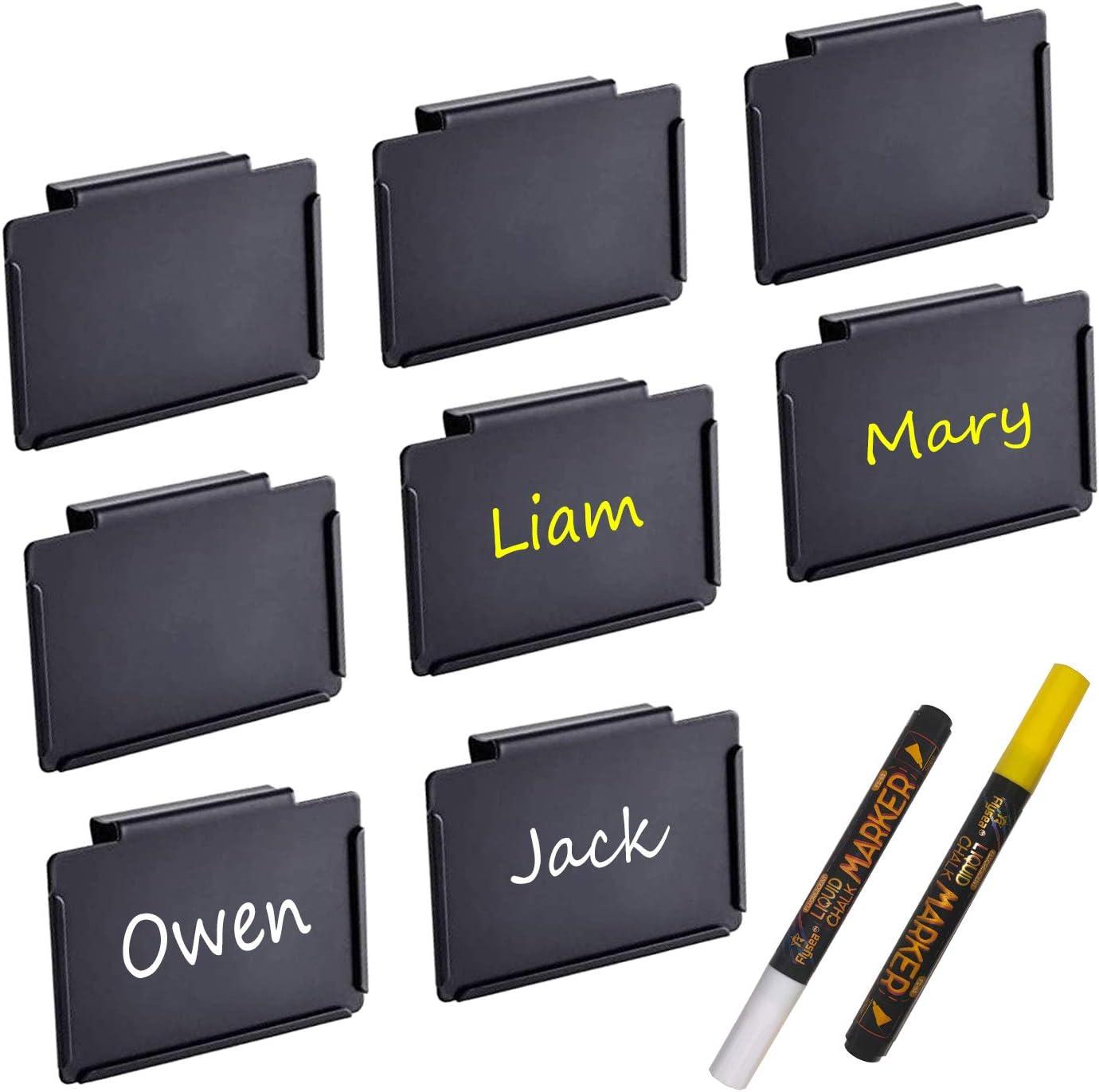 Black Clip Label Holders, Metal Hanging Clip Labels, Removable Chalkboard Labels Suit for Basket, Boxes, Bin, Tables, Shelves, organizing Bookshelves, Storage (Includes 2 Chalk Marker) (Black, 8 Pcs)