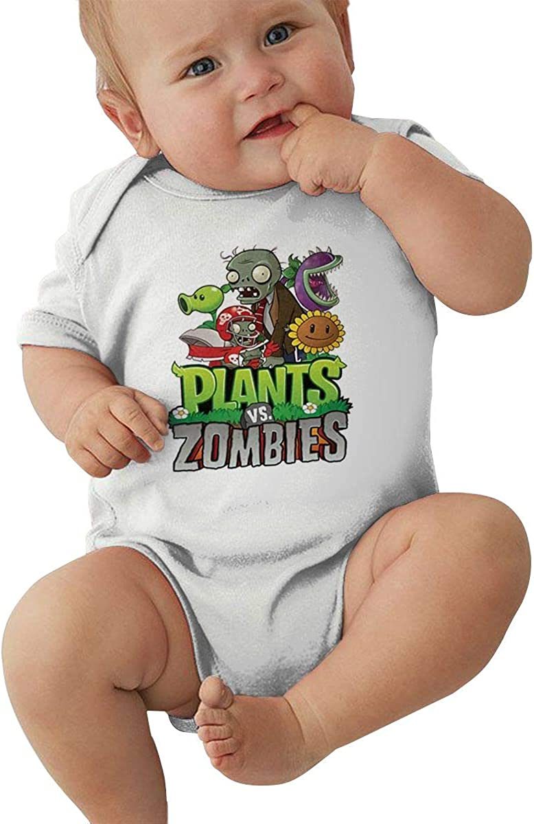 Zombies Generous Eye-Catching Style White AP.Room 1-24 Months Baby Short Sleeve Creeper Jumpsuit Plants Vs