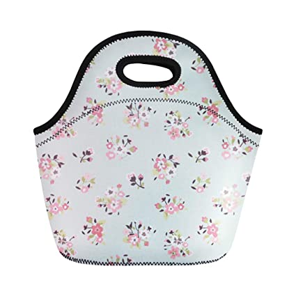 c1bd8ad53743 Amazon.com: Semtomn Lunch Tote Bag Pink Floral Tiny Cute Flower ...