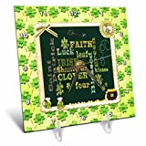3dRose Beverly Turner St Patrick Day Design - Words, Faith, Luck, Blessed, Leaf, Irish, Shamrock, Saint Patrick - 6x6 Desk Clock (dc_282043_1)
