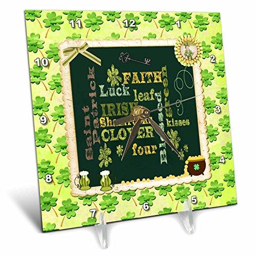 3dRose Beverly Turner St Patrick Day Design - Words, Faith, Luck, Blessed, Leaf, Irish, Shamrock, Saint Patrick - 6x6 Desk Clock (dc_282043_1) by 3dRose