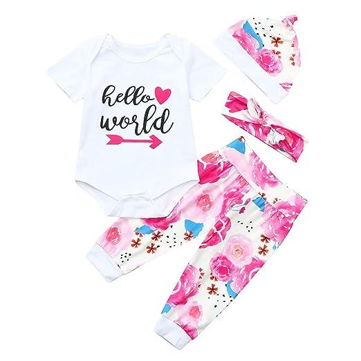 20b33ff3eb34 Amazon.com  Clothful 💓 Infant Baby Boy Girl Letter Print Jumpsuit Romper +Pants+Hat+Headbands Outfits  Clothing