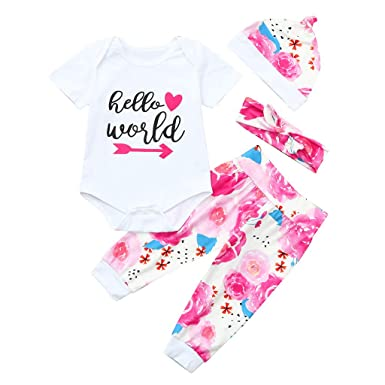 13a51ec6e Amazon.com: 4pcs Toddler Baby Boy Girl Floral Outfit Hello World Romper +  Pants +Hat + Headband White Yellow: Clothing