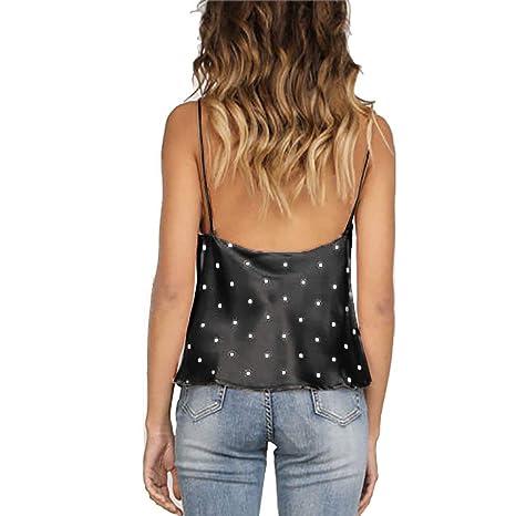 Camiseta Casual de Mujer Sling Top con Cuello en V de Lunares Seda Camisa de Verano sin Mangas Camisola Tops Sexy de Hombros Blusa Crop Tops riou: ...