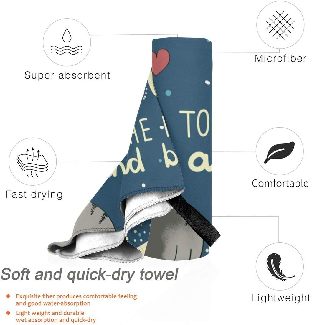 Quick Dry Beach Bath Towel,Sleepy Cat Holding Hearts Over The Moon at Night Sky Ultra Absorbent and Mesh Bag for Travel,Sports,Camping,Beach,Yoga or Bath 27.5x55