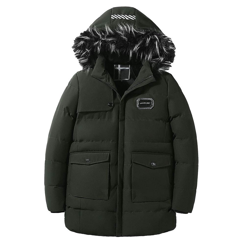 G-Real Men's Winter Removable Hooded Frost-Fighter Sherpa Lined Midi Packable Parka Jackets
