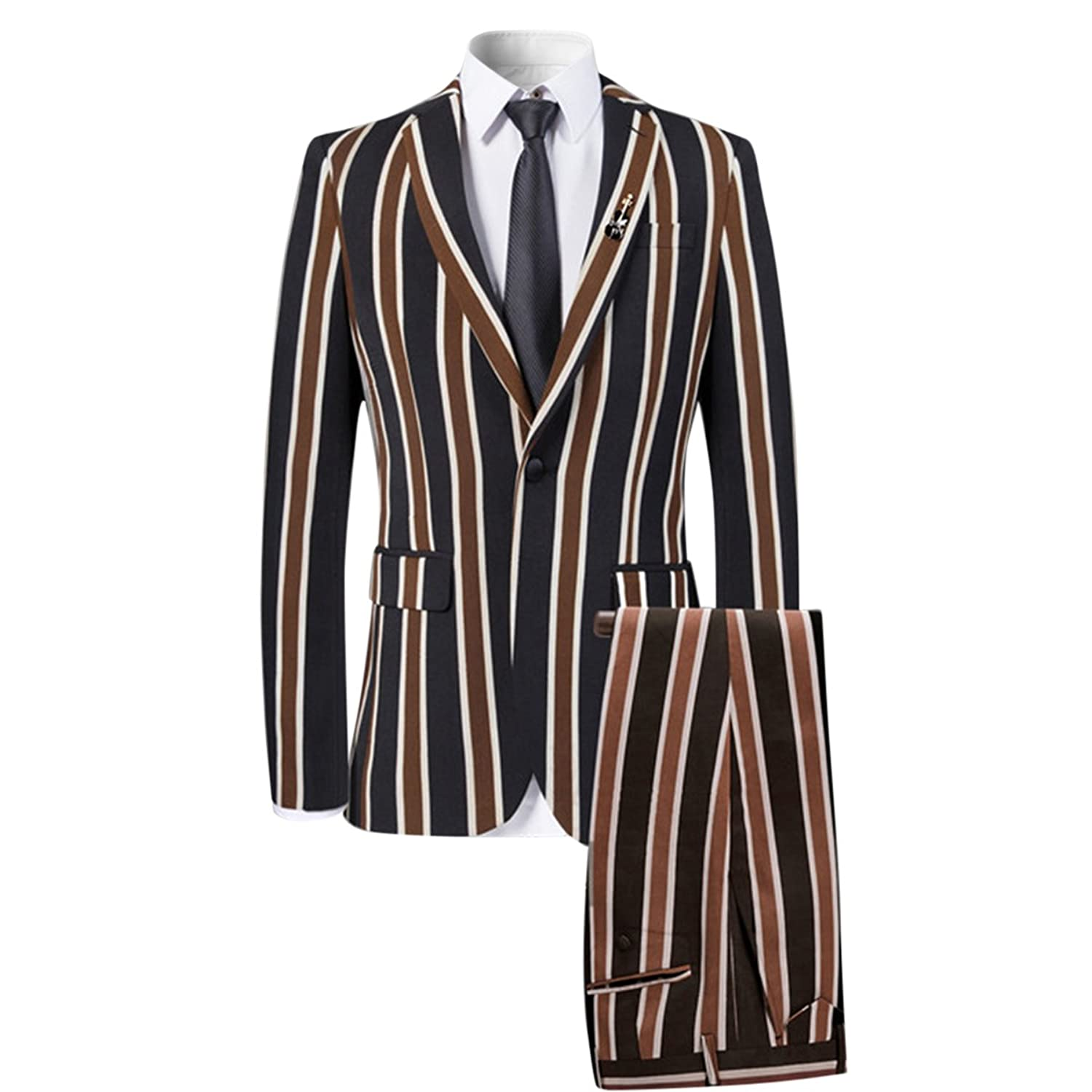 Men's Vintage Style Suits, Classic Suits Colored Striped 3 Piece Suit Slim Fit Tuxedo Blazer Jacket Pants Vest Set $105.99 AT vintagedancer.com