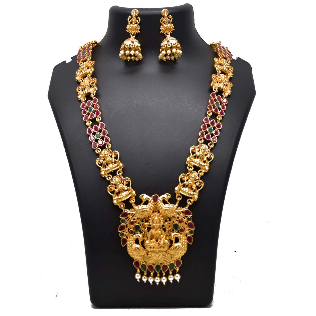 Kollam Supreme Chettinad Lakshmi Peacock Ruby Emerald Long Necklace Set
