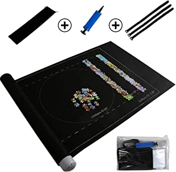 zhimu Jigsaw Mat Black Puzzle Storage Felt 46 X 26 Inches With Size Guides Lines and Portable Polyester Bag Puzzle Roll Mat Up to 1500 Pieces