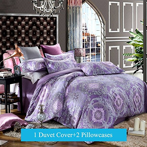 Ttmall 3-pieces Full Queen Size Microfiber Duvet Cover Set, Purple Lavender