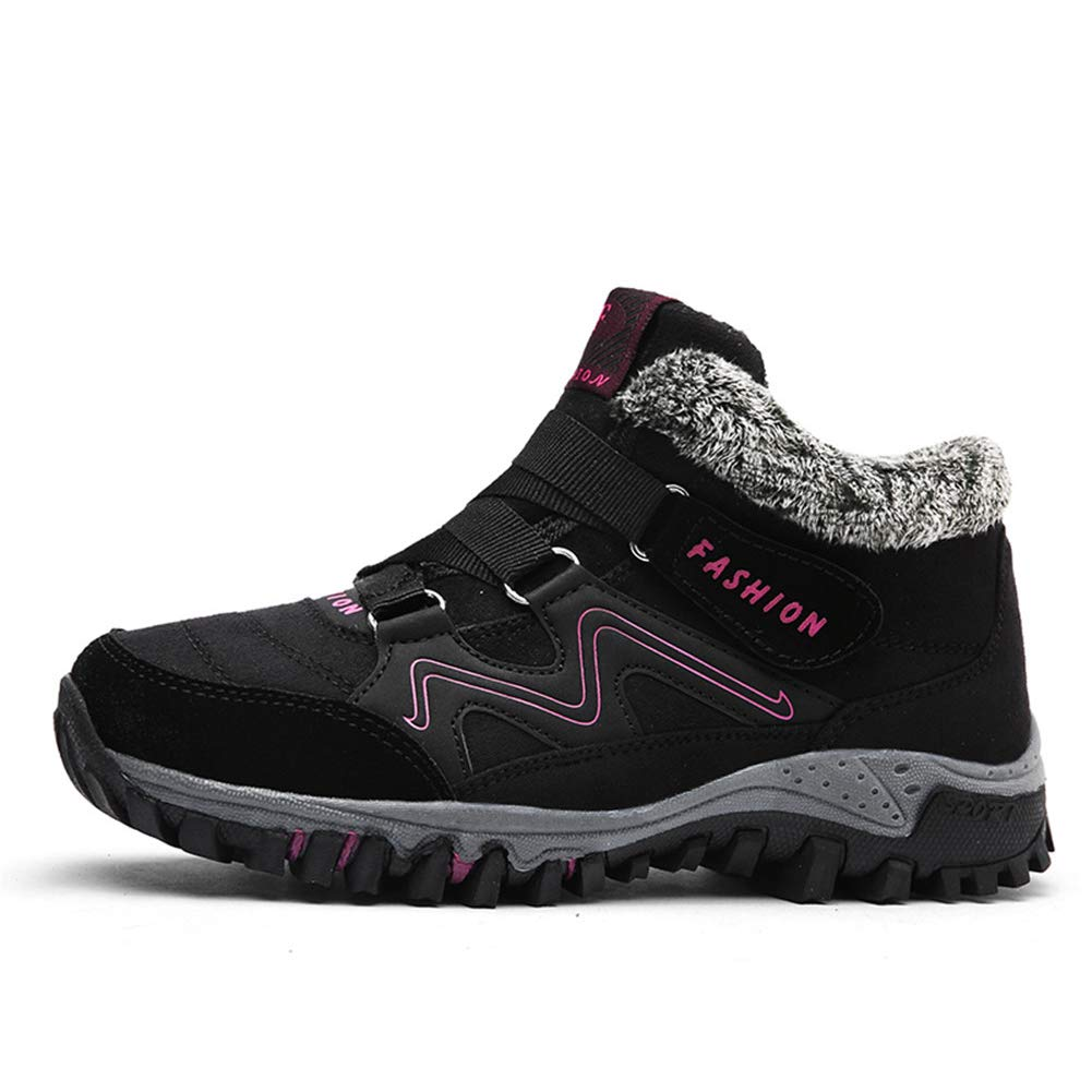 Anokar Womens Men Hiking Boots Walking Shoes Trekking Winter Fur Lined Snow Boots for Ladies Warm Ankle Running Trainers Unisex Outdoor Black Grey Purple 35-46