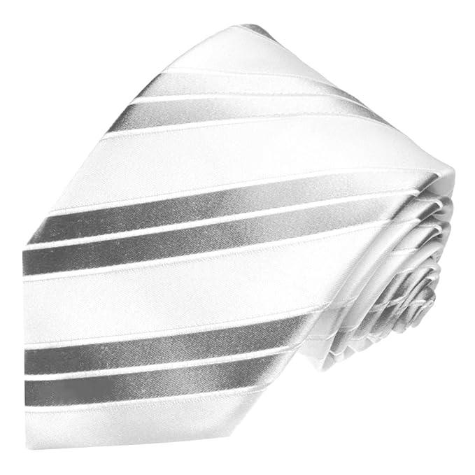 LORENZO CANA - Blancas marcas corbata con rayas plateadas - boda ...