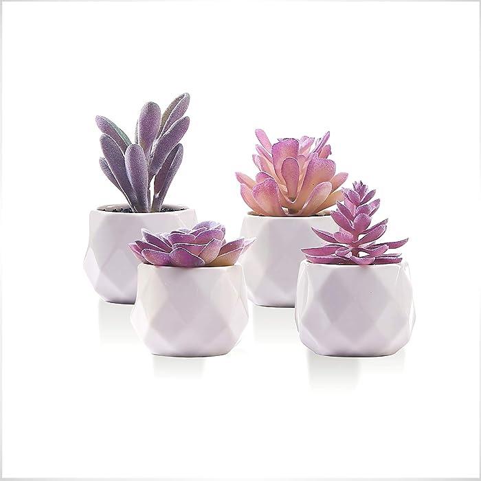 CADNLY Fake Succulent Plant Set - Artificial Succulent Plants for Women Desk - Realistic Faux Succulents in Ceramic Planter Pots - Mini Purple Succulent Decor for Bedroom Bathroom Bookshelf Office