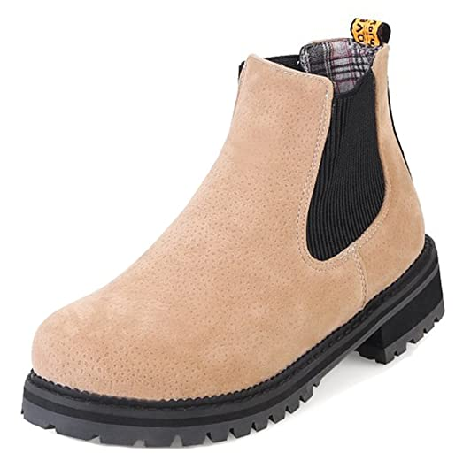 Women's Casual Elastic Mid Block Heels Chelsea Boots Pull On Round Toe Ankle Booties Shoes
