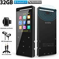 Grtdhx 32GB Bluetooth MP3 Player with FM Radio, Voice Recorder, Pedometer, Expandable up to 128GB TF Card