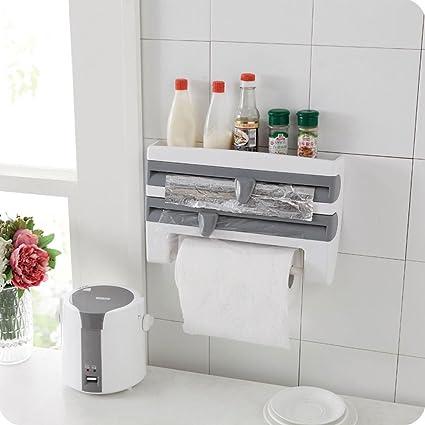 ebilun cocina soporte de pared lámina de Se aferran película lata dispensador de rollo de papel
