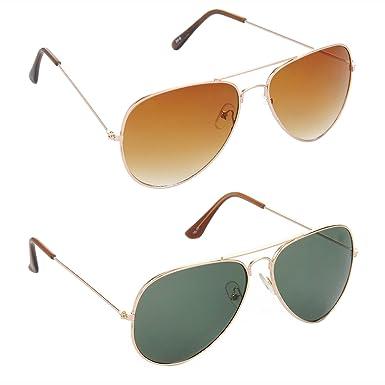ccba17b03d00 Amazon.com  HRINKAR Men s Aviator Lens Frame SunglassesBrown   Green ...