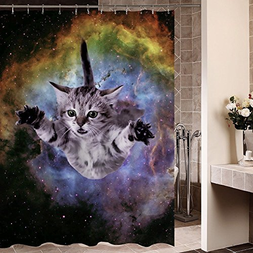 Country Bath Accessories Cats (Cute Flying Cat Water-Proof Polyester Fabric Shower Curtain (72