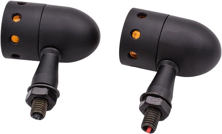 per moto Alloggiamento in metallo nero NATGIC set da 4 pezzi luce ambra//giallo chiaro Indicatori di direzione anteriori e posteriori a forma di proiettile