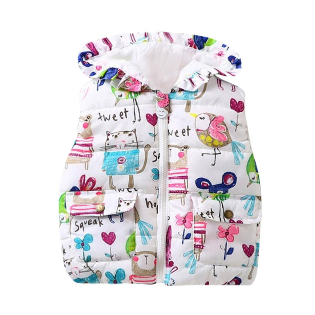SHOBDW Girls Gilet, Baby Infant Cute Animal Hooded Jackets Zipper Warm Waistcoat Toddler Clothes Coat SHOBDW-99